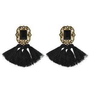 Jewelry - Black Boho Fringe Tassel & Crystal Earrings
